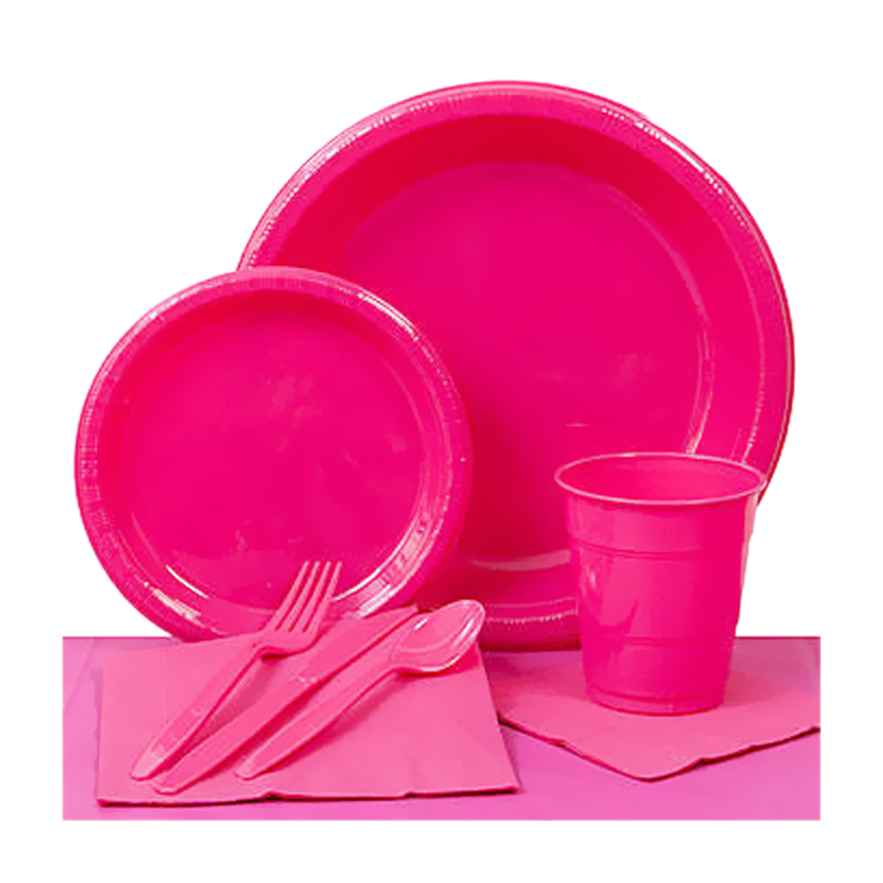Shindigz Valentines Day Decorations Hot Pink Plastic Party Pack 1296-K1-Sd-Hpk 1296-K1-SD-HPK