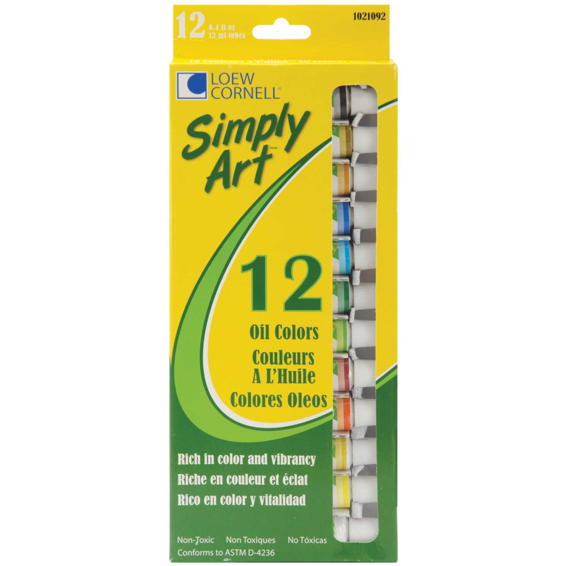 Simply Art Oil Paints 12ml 12 Per Package-Assorted Colors 1021092 1021092