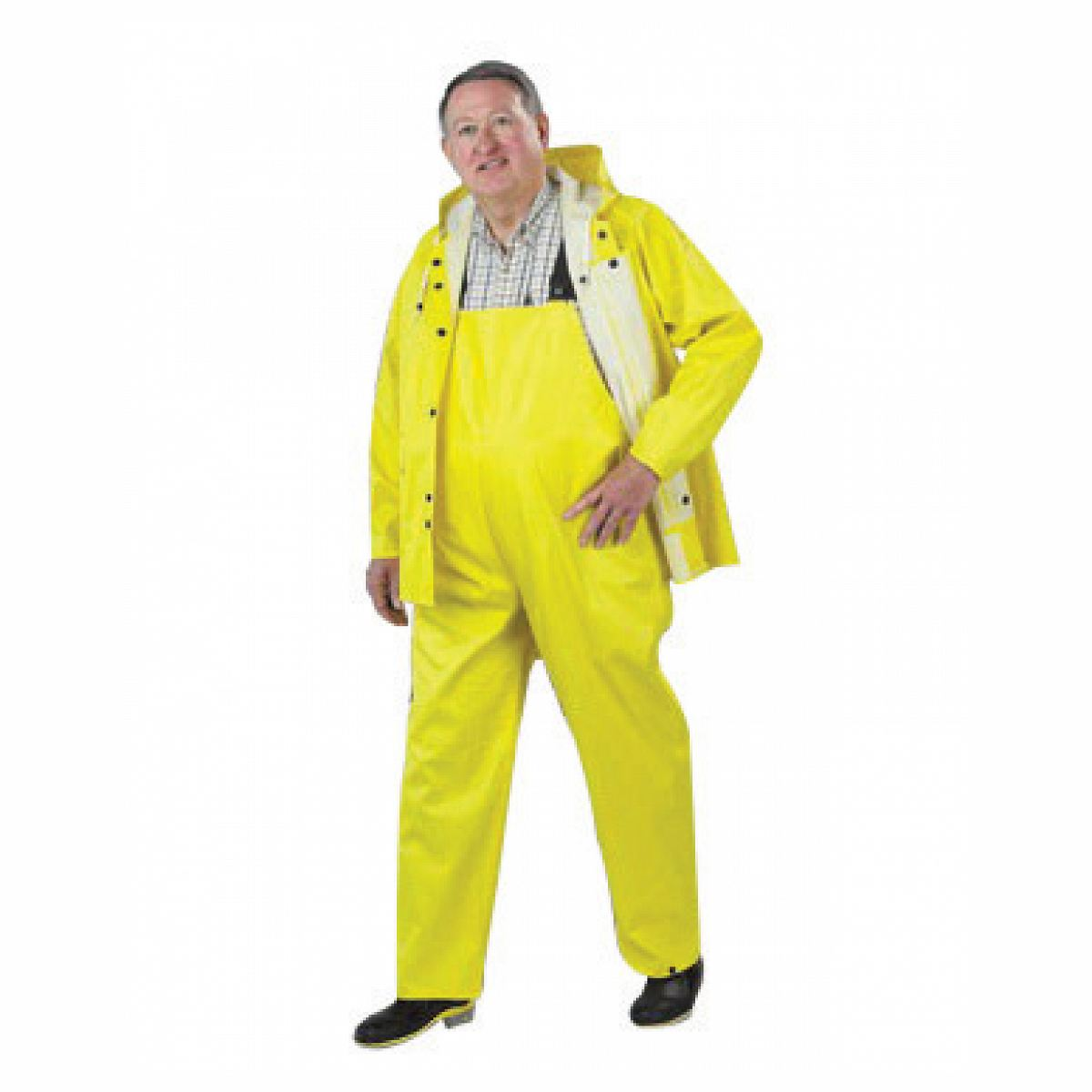 Onguard Industries Large Yellow Webtex .6500 mm PVC And Non-Woven Polyester Rain Bib Overalls With No Fly Closure And Plain F 76050-LG