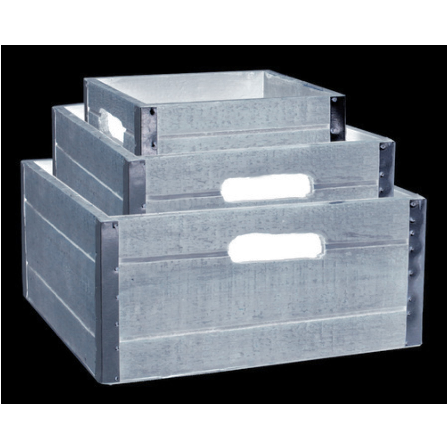Wald 8132/S3/Gray Set Of 3 Wood Crates 8132/S3/GRAY