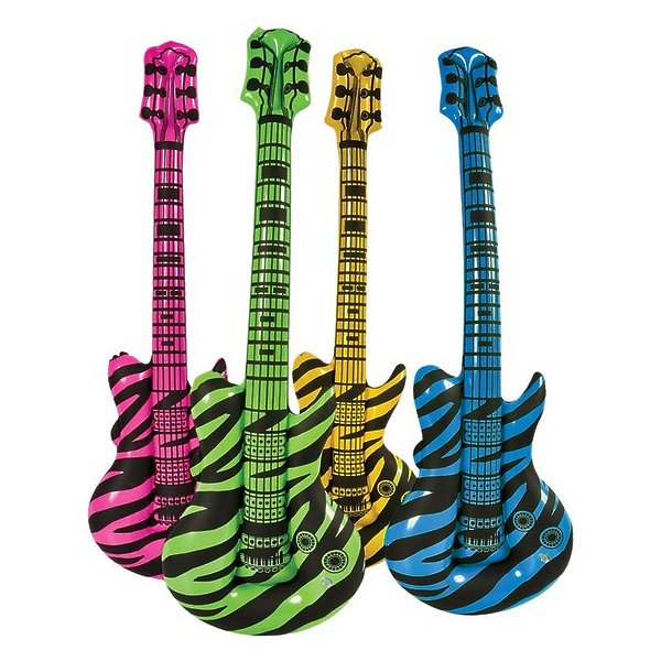 Rhode Island Novelties 225393 Inflatable Zebra Print Guitar Various Color May Vary 225393
