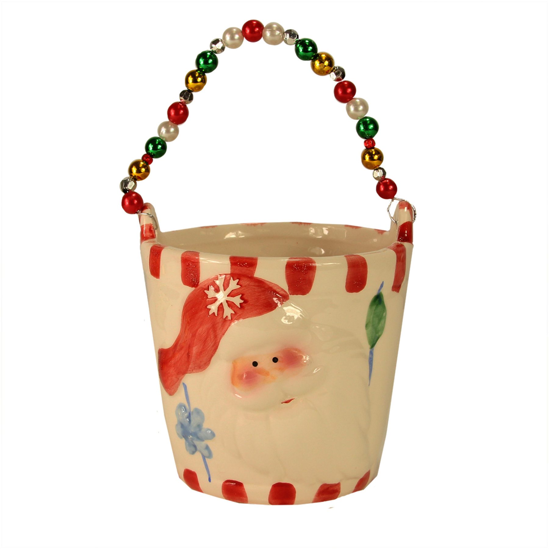 "Pack Of 4 Ceramic Decorative Christmas Buckets With Beaded Handle 6"" 31012953"