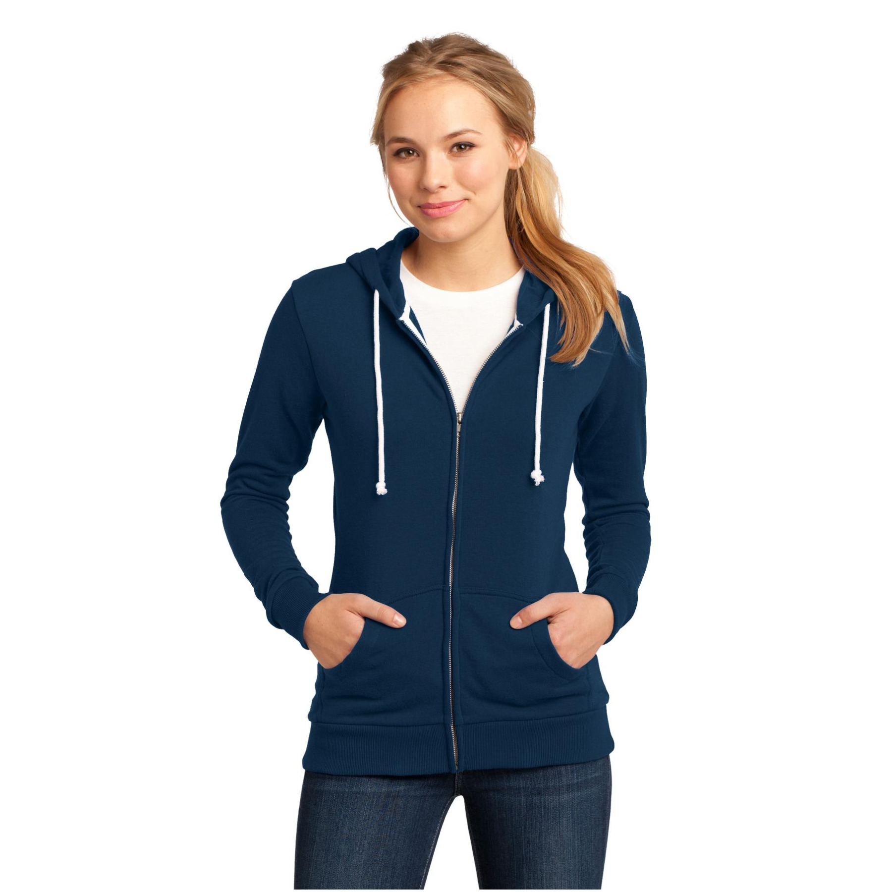 District Juniors Core Fleece Full-Zip Hoodie Dt290 -New Navy -Xxl DT290